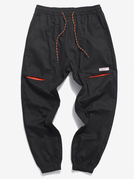 hot Letter Applique Casual Pencil Cargo Pants - BLACK XS