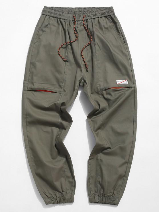 fashion Letter Applique Casual Pencil Cargo Pants - ARMY GREEN M
