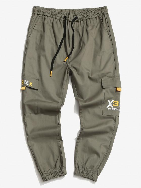 Drawstring Letter Print Tapered Cargo Pants - الجيش الأخضر S