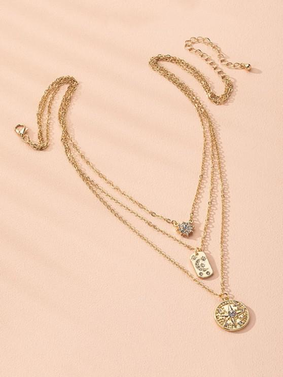 Moon And Star Rhinestone Layers Necklace - ذهبي