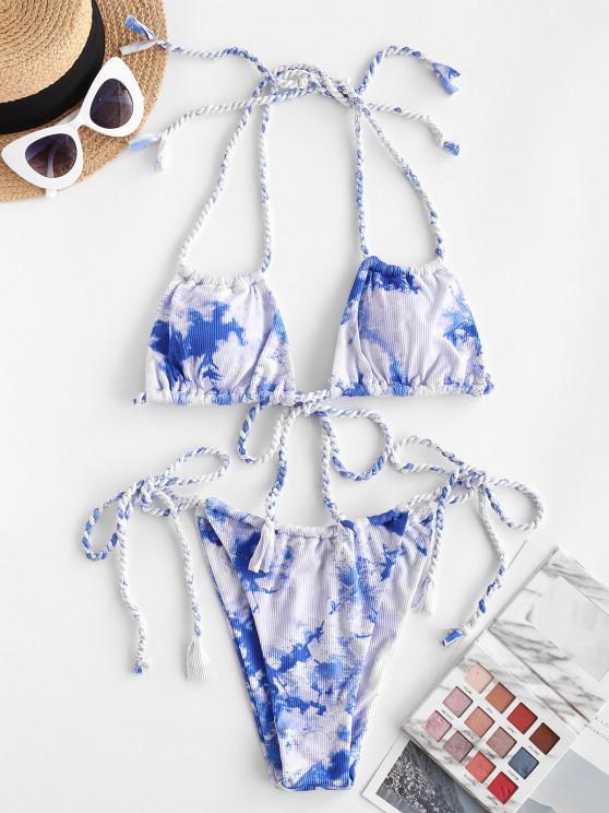 outfit ZAFUL Braided Tie Dye Ribbed Ruched String Bikini Swimwear - LIGHT BLUE S