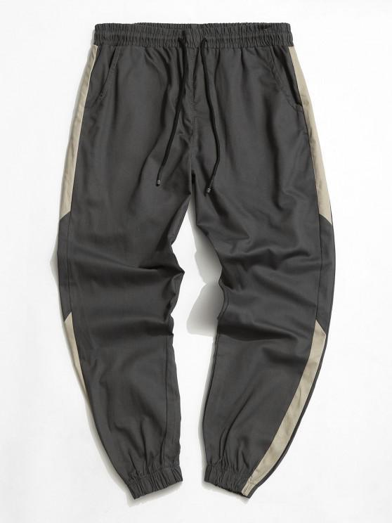 Contrast Tapered Drawstring Casual Pants - اللون الرمادي L