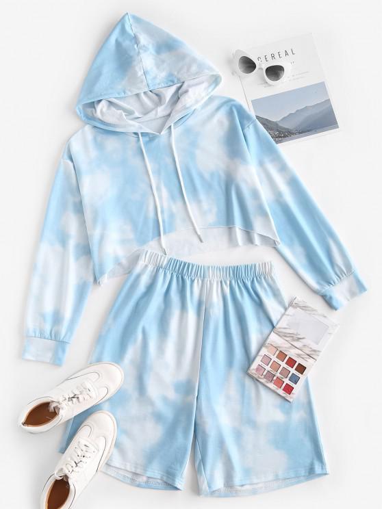 shop ZAFUL Sky Tie Dye Drop Shoulder Two Piece Shorts Set - LIGHT BLUE S