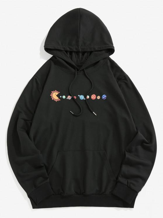 ZAFUL Cartoon Solar System Print Funny Hoodie - أسود XL