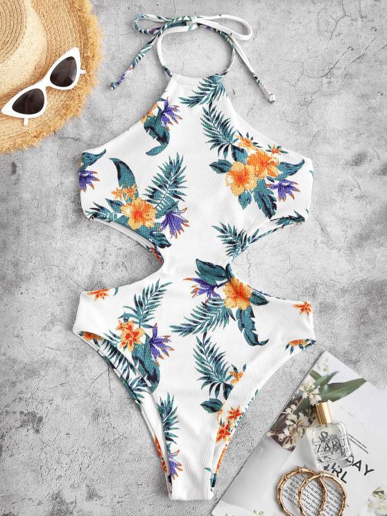 ZAFUL Floral Print Halter Padded High Leg Monokini Swimsuit - أبيض S