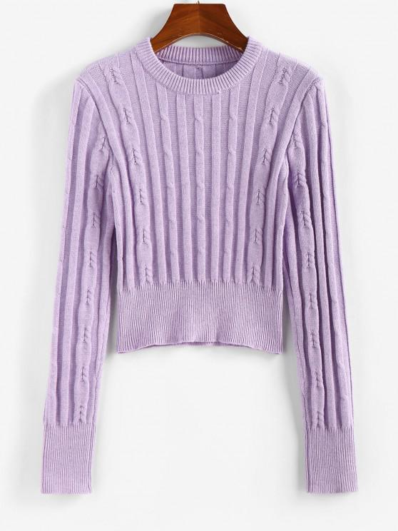 ZAFUL Ribbed Plain Crop Jumper Sweater - ضوء ارجواني M