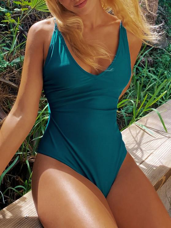 fashion Self Tie Cross Back High Cut Swimsuit - GREENISH BLUE S