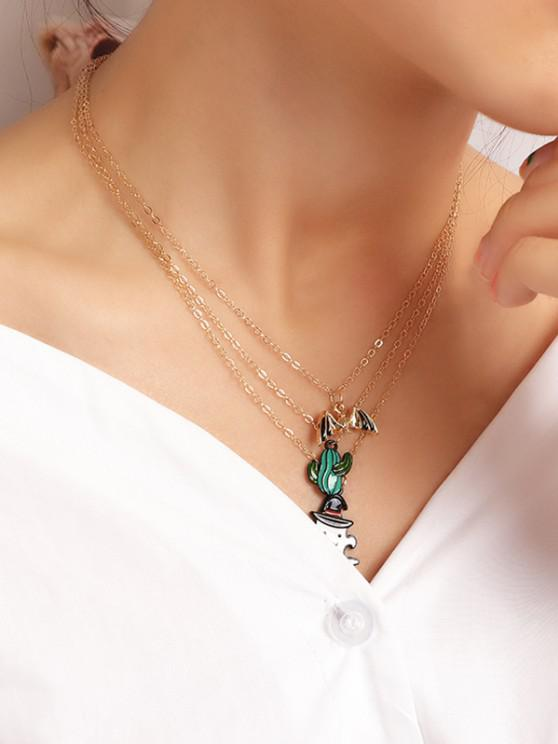 Halloween Cactus Ghost Layers Necklace - ذهبي