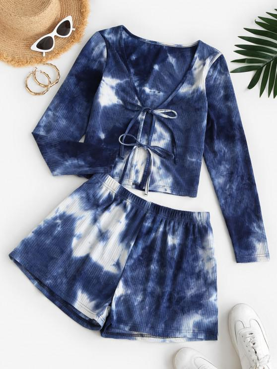 women ZAFUL Ribbed Tie Dye Co Ord Set - DEEP BLUE S
