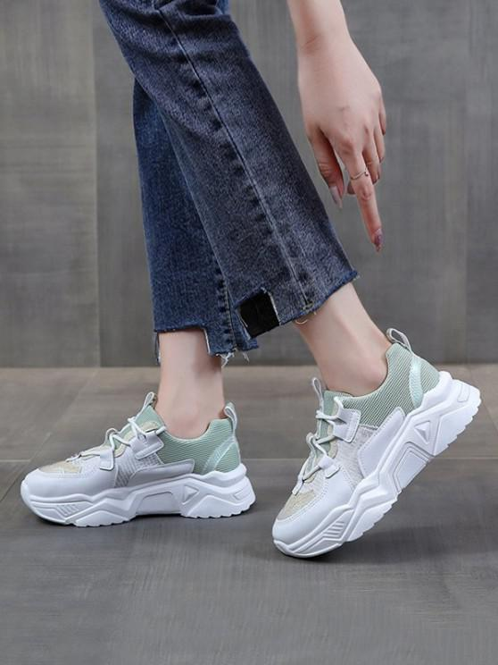 lady Colorblock Patchwork Dad Sneakers - MACAW BLUE GREEN EU 37