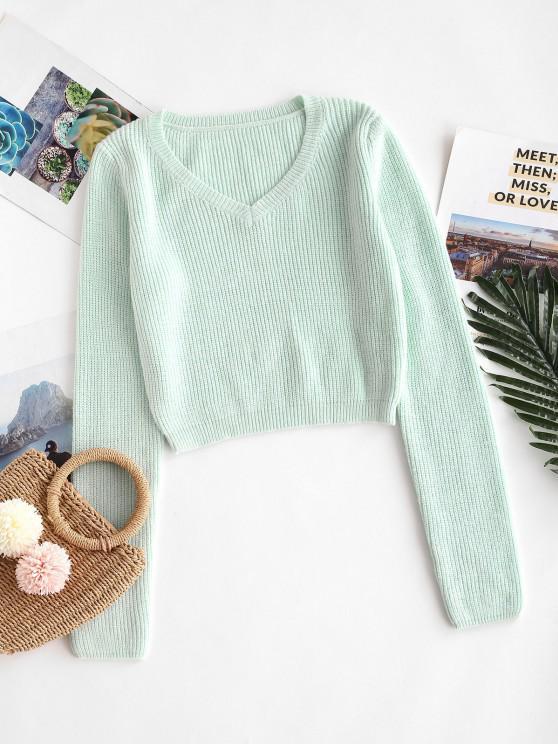 V Neck Crop Jumper Sweater - اخضر فاتح حجم واحد
