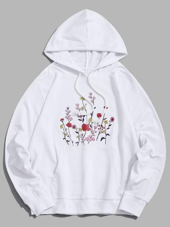 outfit Floral Pattern Drawstring Hoodie - WHITE XS