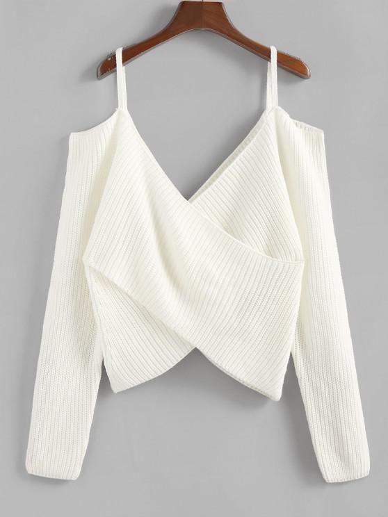 ZAFUL Overlap Cold Shoulder Jumper Sweater - أبيض L