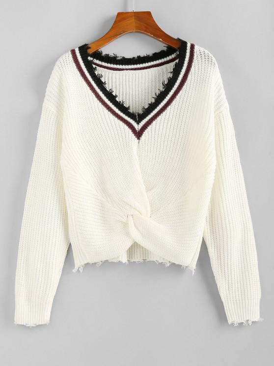 ZAFUL Striped Twisted Frayed Drop Shoulder Sweater - أبيض M