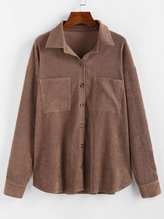 sale ZAFUL Corduroy Pocket Drop Shoulder Shirt Jacket - BROWN L