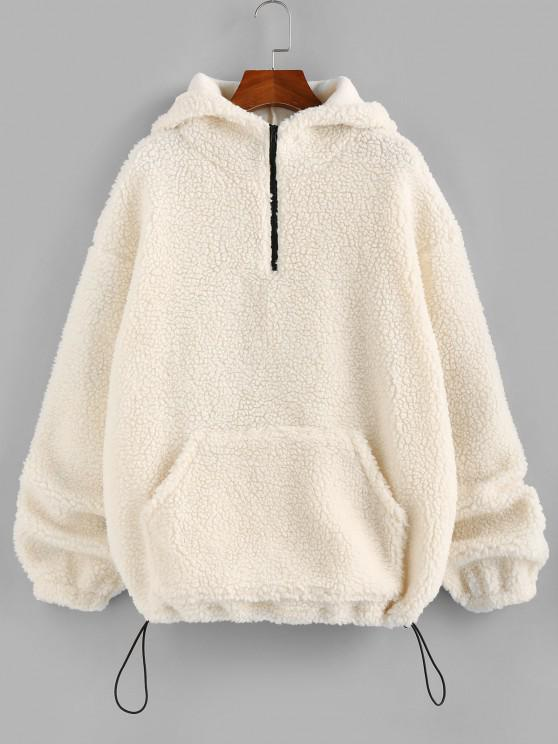 ZAFUL Half Zipper Oversized Kangaroo Pocket Teddy Hoodie - الأبيض الدافئ S