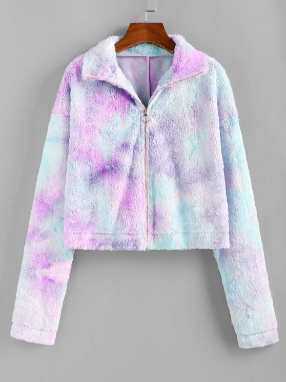 ZAFUL Tie Dye Plush Drop Shoulder Crop Coat - متعددة-A S