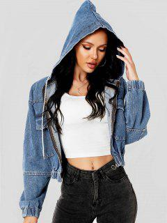 Hooded Pull Ring Denim Jacket - Blue Xs