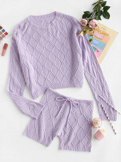 Rhombus Knit Drop Shoulder Drawstring Sweater And Shorts Set - Light Purple M