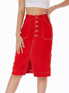 Topstitching Button Fly Colored Denim Skirt - Red L
