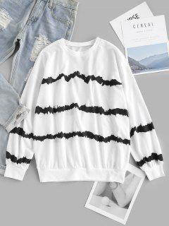 ZAFUL Drop Shoulder Tie Dye Stripes Sweatshirt - White M