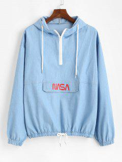 Letter Print Half Zip Drop Shoulder Jean Hoodie - Light Blue L