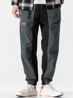 Pantalon Décontracté Applique Contrasté Bouclé - Gris L