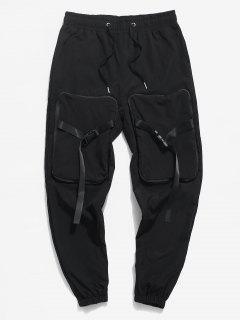 Hanzi Detail Release Buckle Strap Cargo Pants - Black Xs
