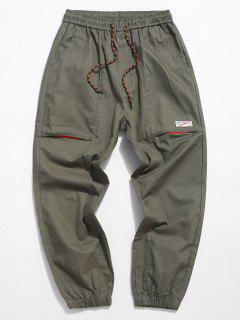 Letter Applique Casual Pencil Cargo Pants - Army Green S