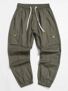 Drawstring Tapered Casual Pants - Army Green Xs