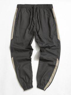 Pantalon Décontracté Fuselé Contrasté à Cordon - Gris L