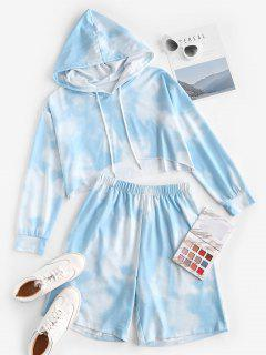 ZAFUL Sky Tie Dye Drop Shoulder Two Piece Shorts Set - Light Blue M