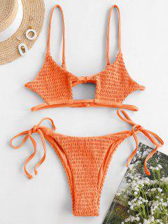 ZAFUL Smocked Ribbed Bralette Keyhole String Bikini Swimwear - Dark Orange L