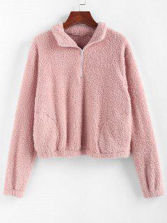 ZAFUL Faux Fur Half Zip Pocket Sweatshirt - Lipstick Pink S