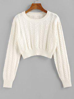 ZAFUL Cable Knit Openwork Crop Sweater - White M