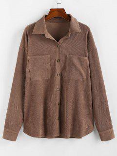 ZAFUL Corduroy Pocket Drop Shoulder Shirt Jacket - Brown M
