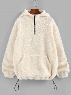 ZAFUL Half Zipper Oversized Kangaroo Pocket Teddy Hoodie - Warm White S