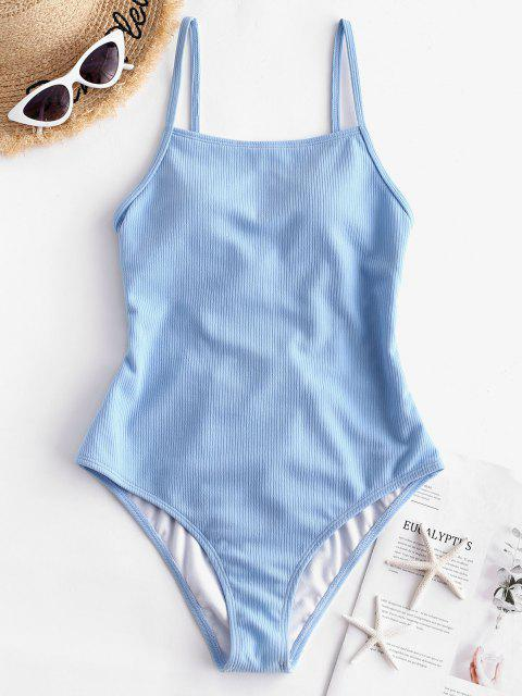 shop ZAFUL Ribbed Lace Up One-piece Swimsuit - DAY SKY BLUE M Mobile