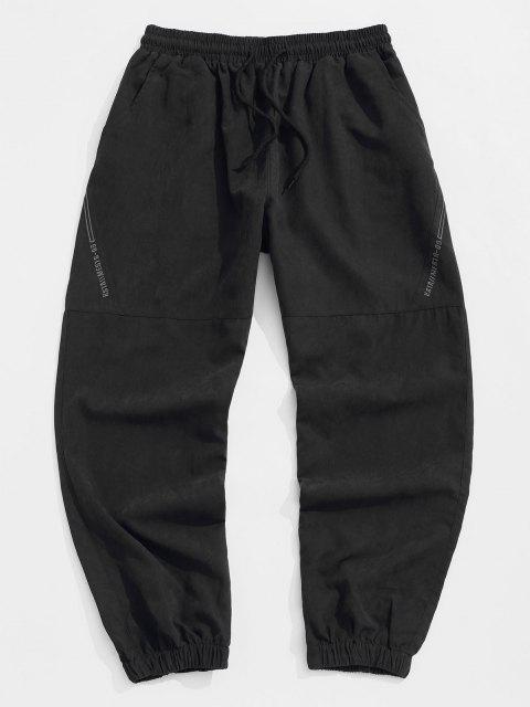 Pantalones Jogger de Bordado de Letras y con Cordón - Negro M Mobile