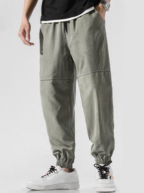 Pantalones Jogger de Bordado de Letras y con Cordón - Verde M Mobile