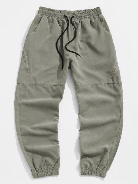 Pantalones Jogger de Bordado de Letras y con Cordón - Verde 4XL Mobile