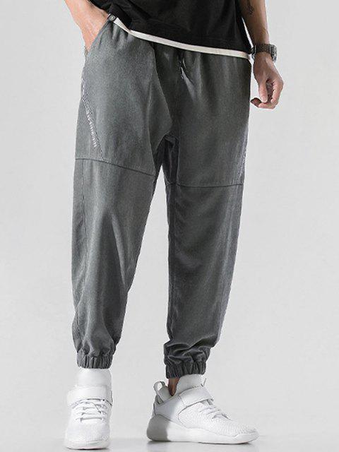 Pantalones Jogger de Bordado de Letras y con Cordón - Gris Oscuro 3XL Mobile