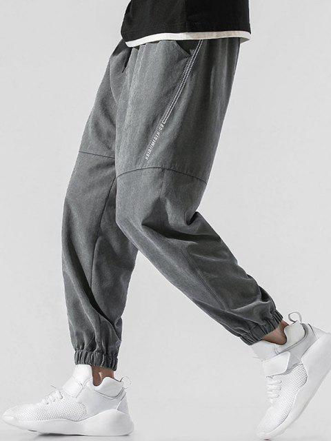 Pantalones Jogger de Bordado de Letras y con Cordón - Gris Oscuro 4XL Mobile