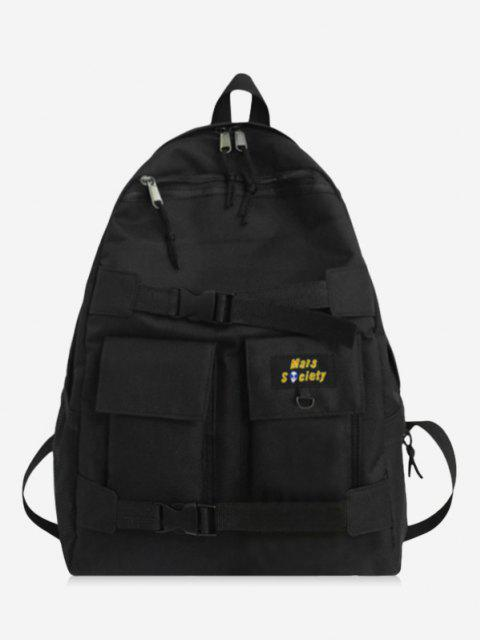 chic High Capacity Two Tone Cargo Backpack - BLACK  Mobile