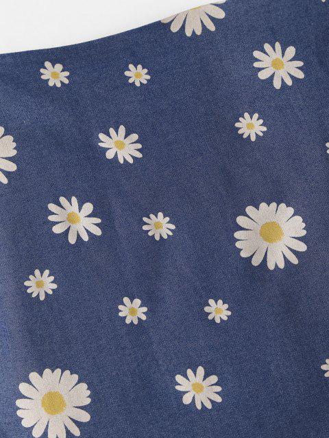 hot Daisy Ruffles Chambray Mini Skirt - BLUE S Mobile