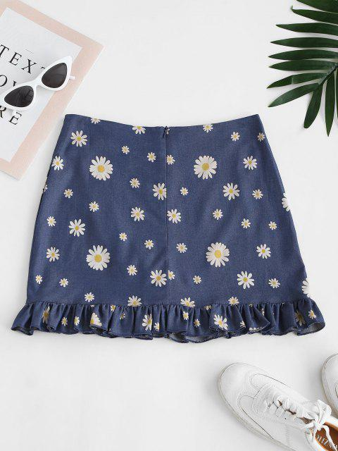 hot Daisy Ruffles Chambray Mini Skirt - BLUE S Mobile