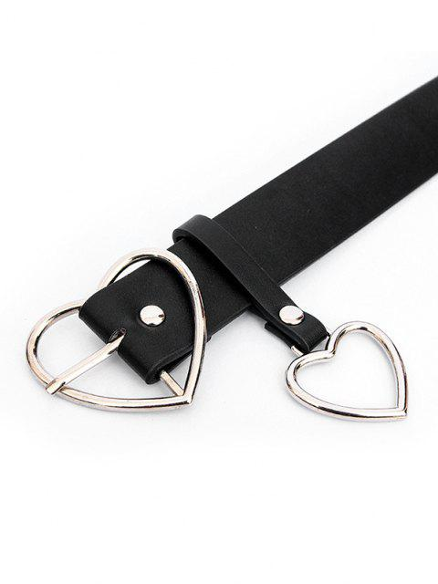fashion Heart-shaped Pin Buckle Belt - BLACK SILVER Mobile