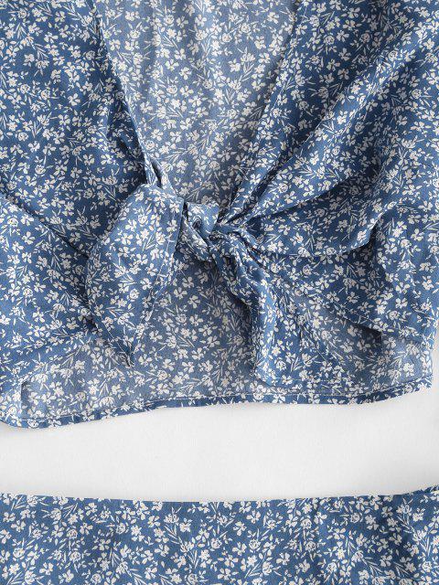 unique Ditsy Floral Knotted Flounce Two Piece Skirt Set - DEEP BLUE S Mobile
