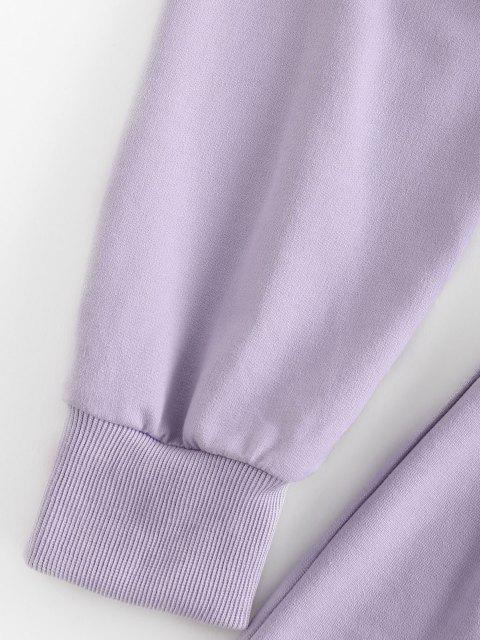 unique ZAFUL French Terry Raw Cut Two Piece Shorts Set - LIGHT PURPLE XL Mobile