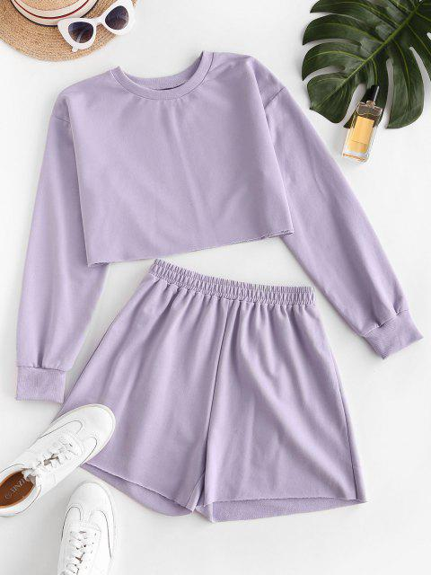 ZAFUL French Terry Ausgeschnittenes Zweiteilige Shorts Set - Helles Lila XL Mobile